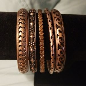 Egyptian Copper bangle bracelet 5 piece set